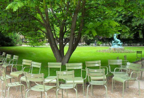 Fermob furniture lines the sidewalks of Paris