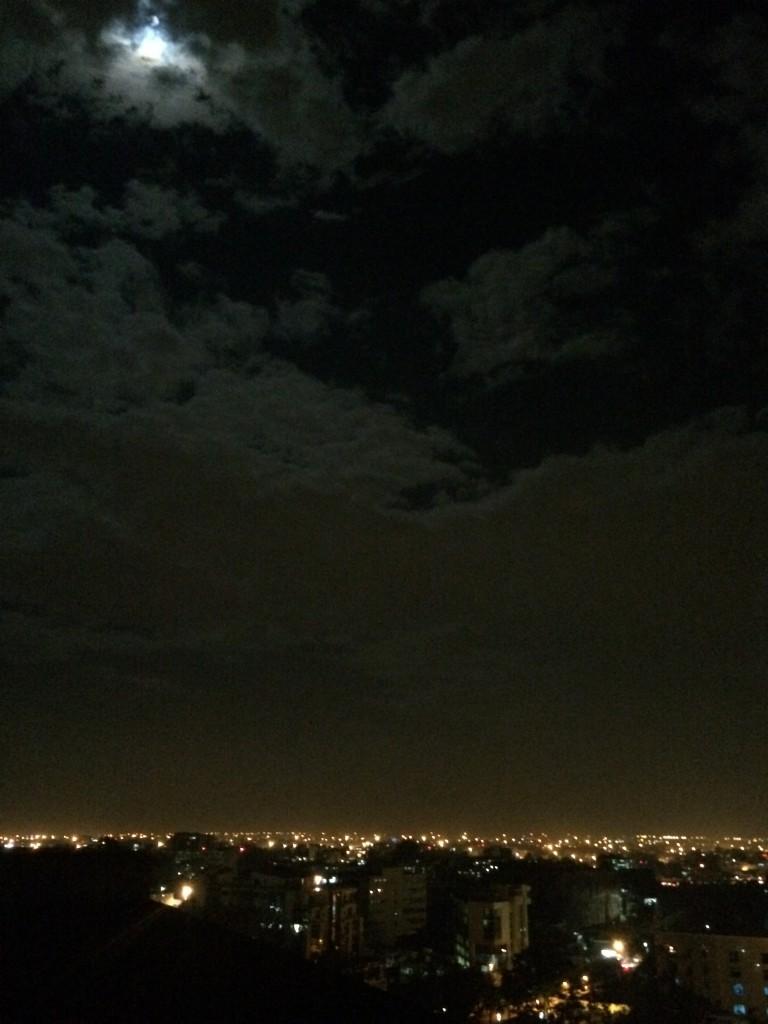 The moonlit sky
