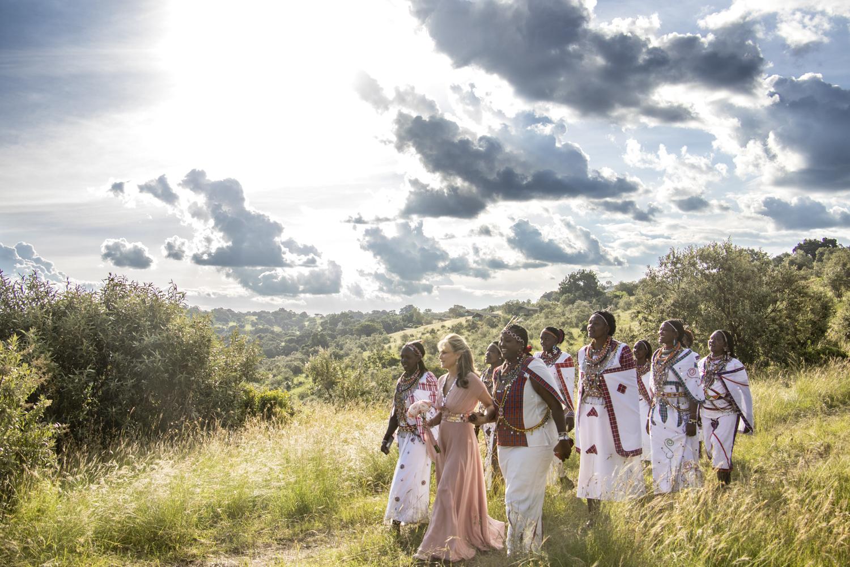 Bride and maasai ladies