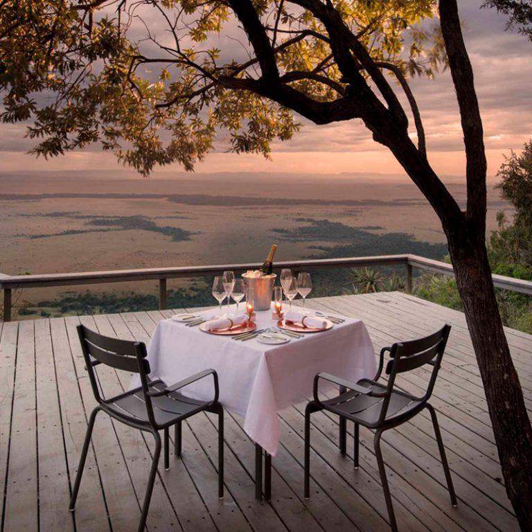 Romantic dinner setup at Angama Mara