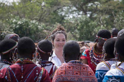 Kate surrounded by the Maasai women at Shadrack's manyatta