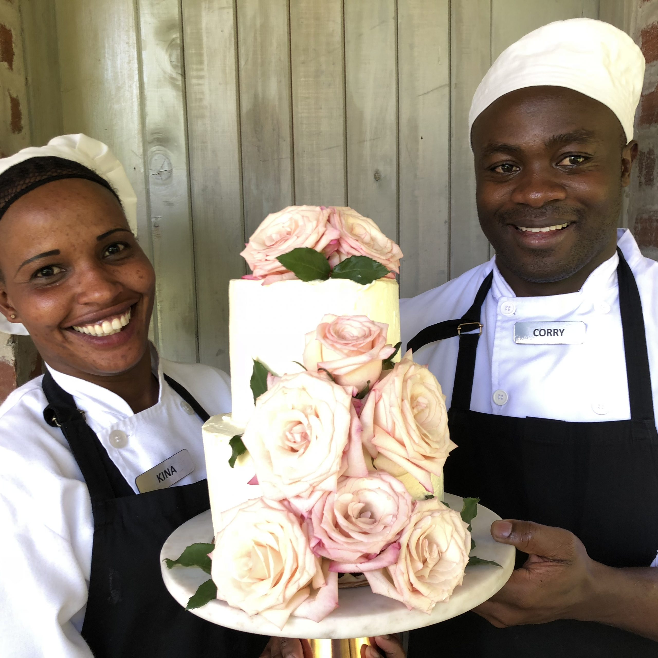 Angama pastry chefs preparing for the wedding cake