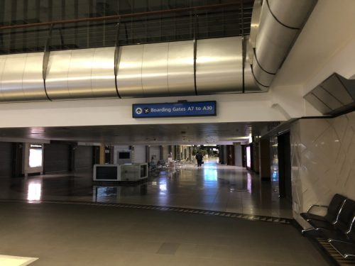 An eerily deserted departure lounge at OR Tambo International, Johannesburg