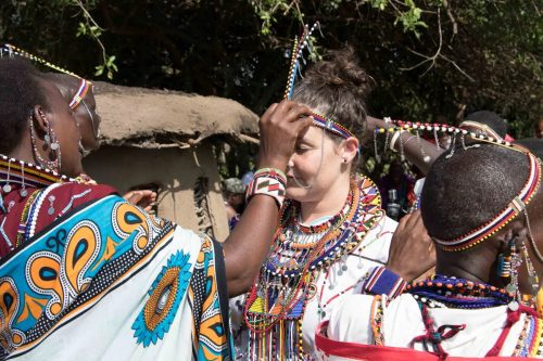 Kate receiving one of many Maasai blessings