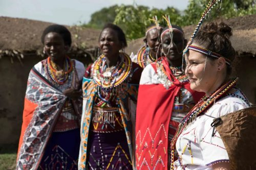 Kate poses for photographs with her Maasai Mothers