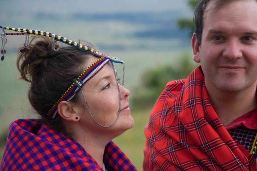 Kate and Mike at the Out of Africa site where their Maasai wedding took place