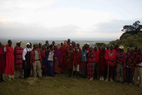 Kate, Mike and the Angama Team on their Maasai wedding day