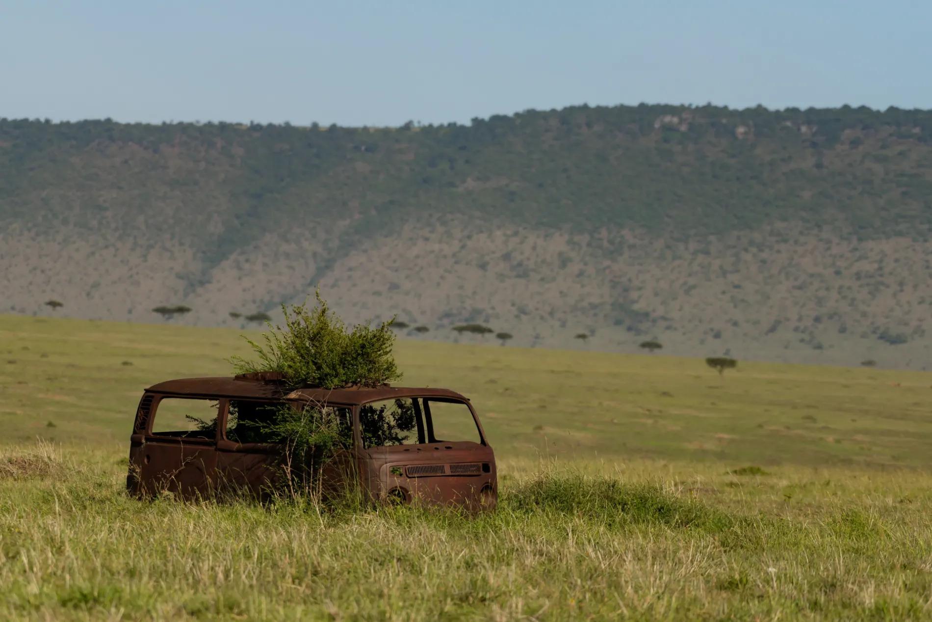 Masai Mara burnt bus