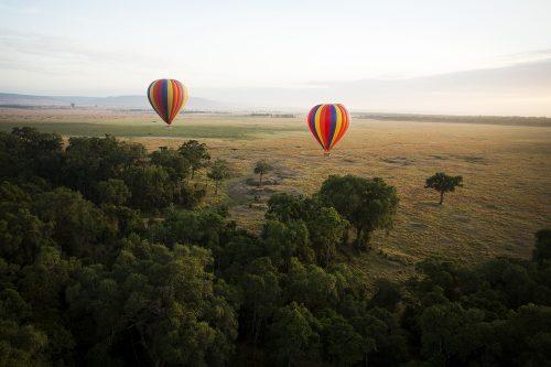 Hot Air balloons float over Kenya's Maasai mara
