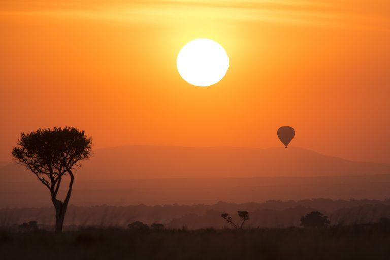 Sunrise and balloon