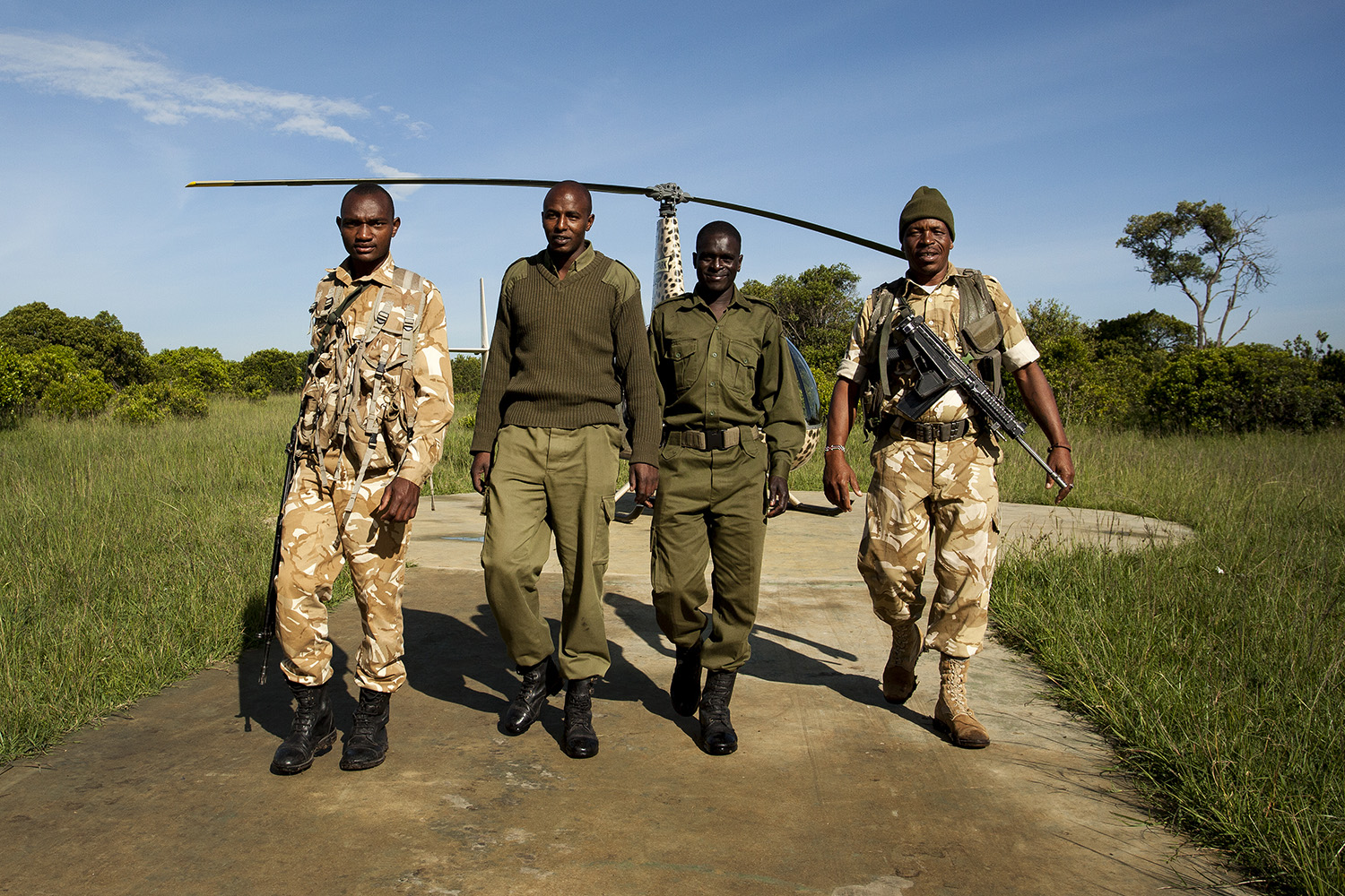 Helicopter rangers walking