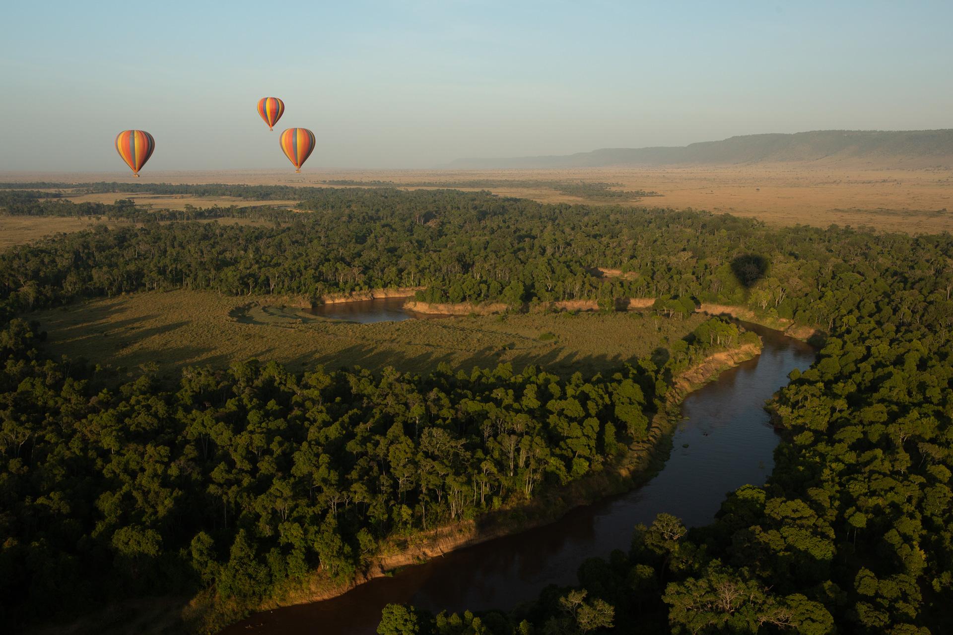 hot air balloons and river