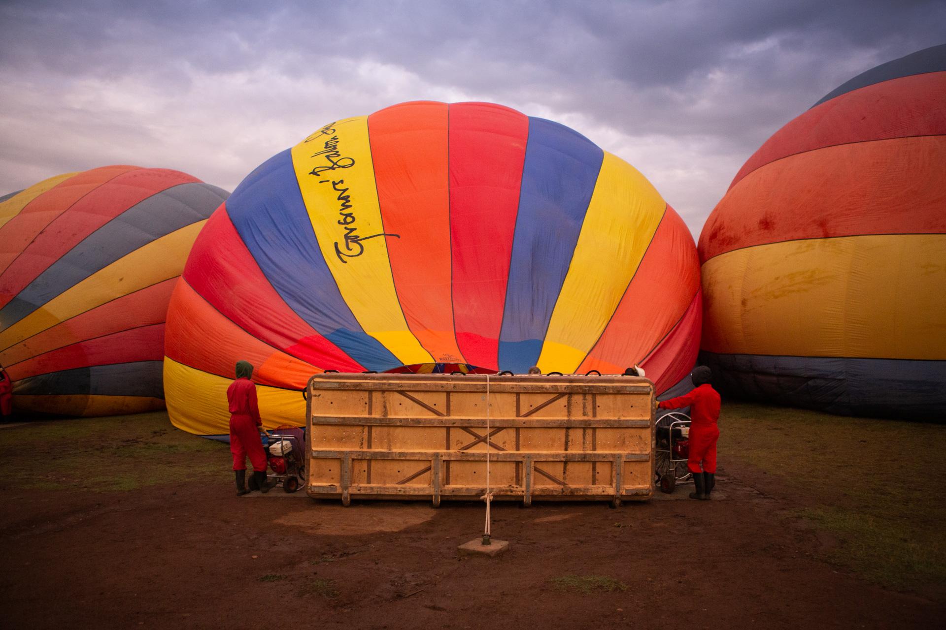 Hot air balloon blowing up