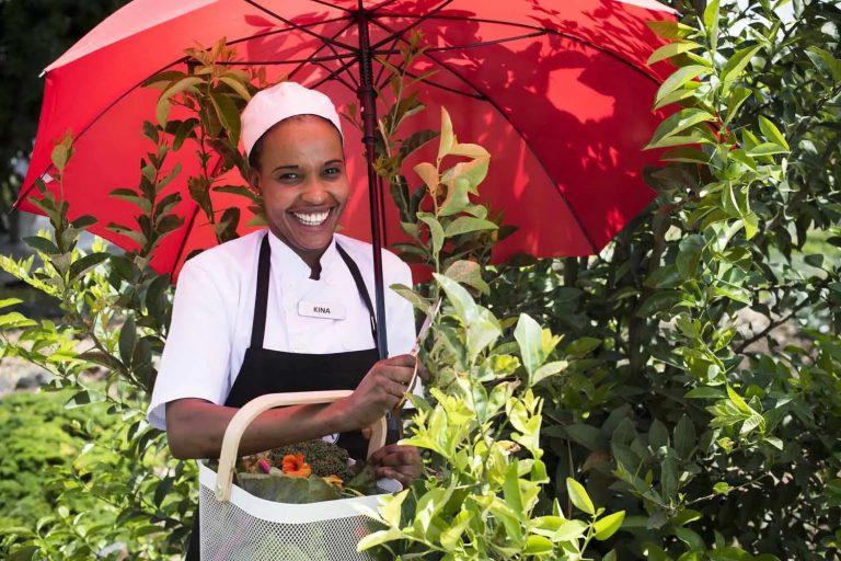 Chef Kina in the Shamba