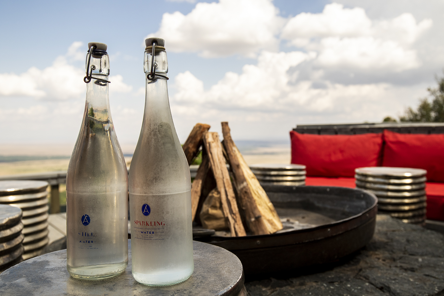 glass bottles on Angama deck reduce waste