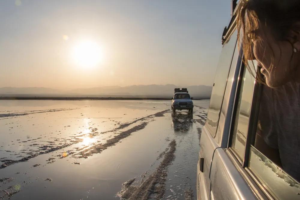 Driving through Dallol Salt Flats