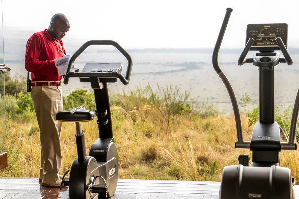 James checking in at Angama mara Fitness room
