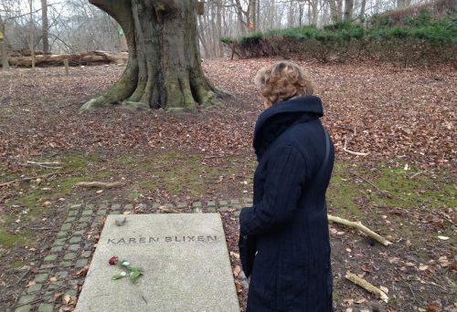 Above: Nicky visiting Karen Blixen's grave in Copenhagen
