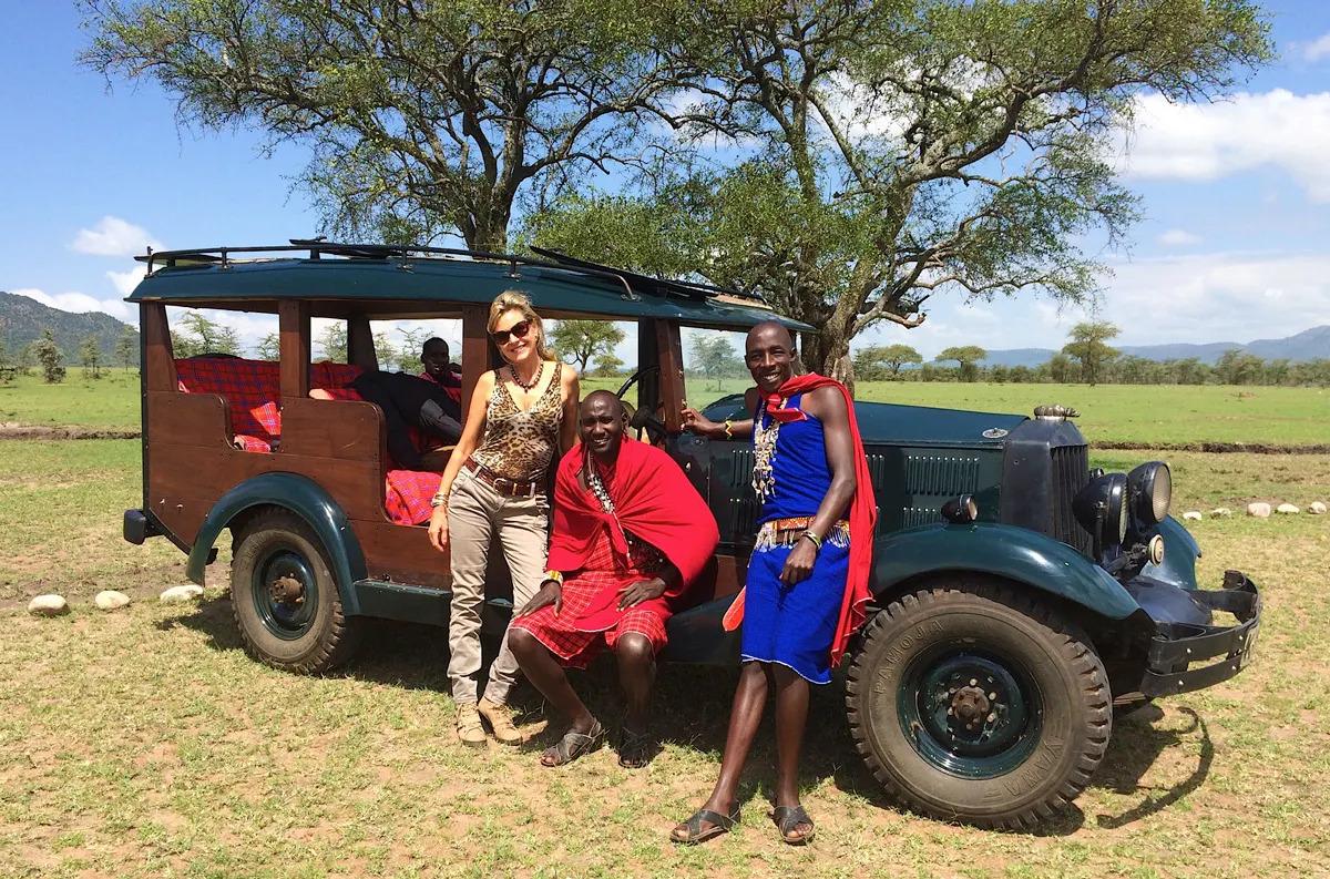 Lisa with Maasai on safari