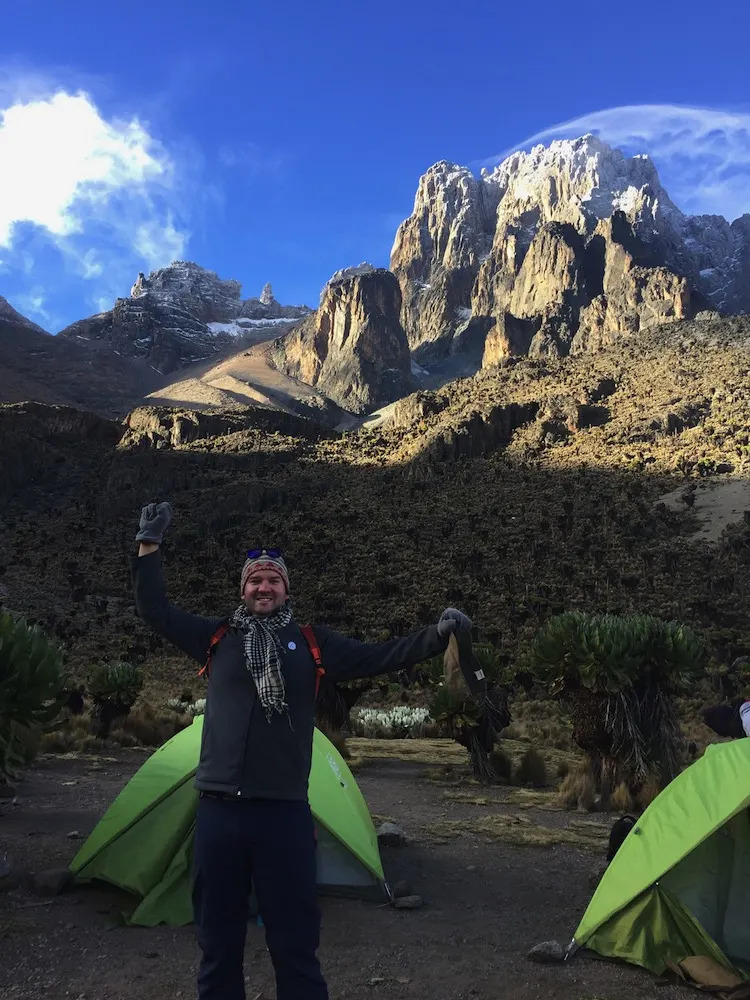 Morning after the summit on Mount Kenya