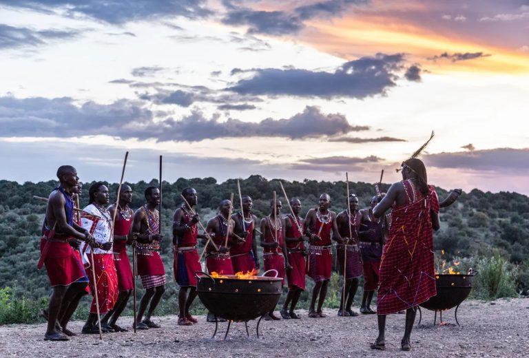 Local Maasai warriors love to perform