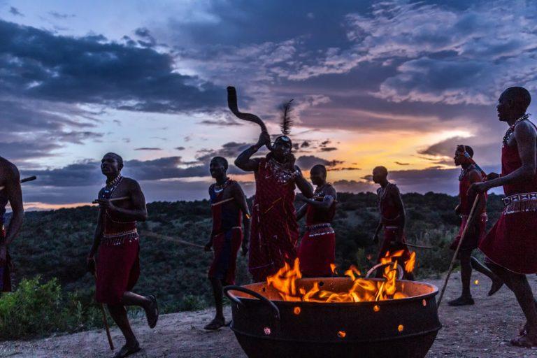 Maasai warriors dancing at boma