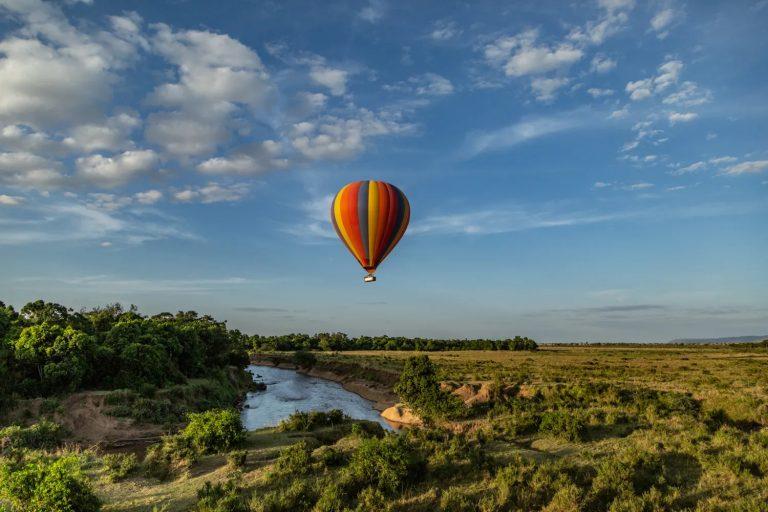 Going up in a hot air balloon in the Maasai Mara