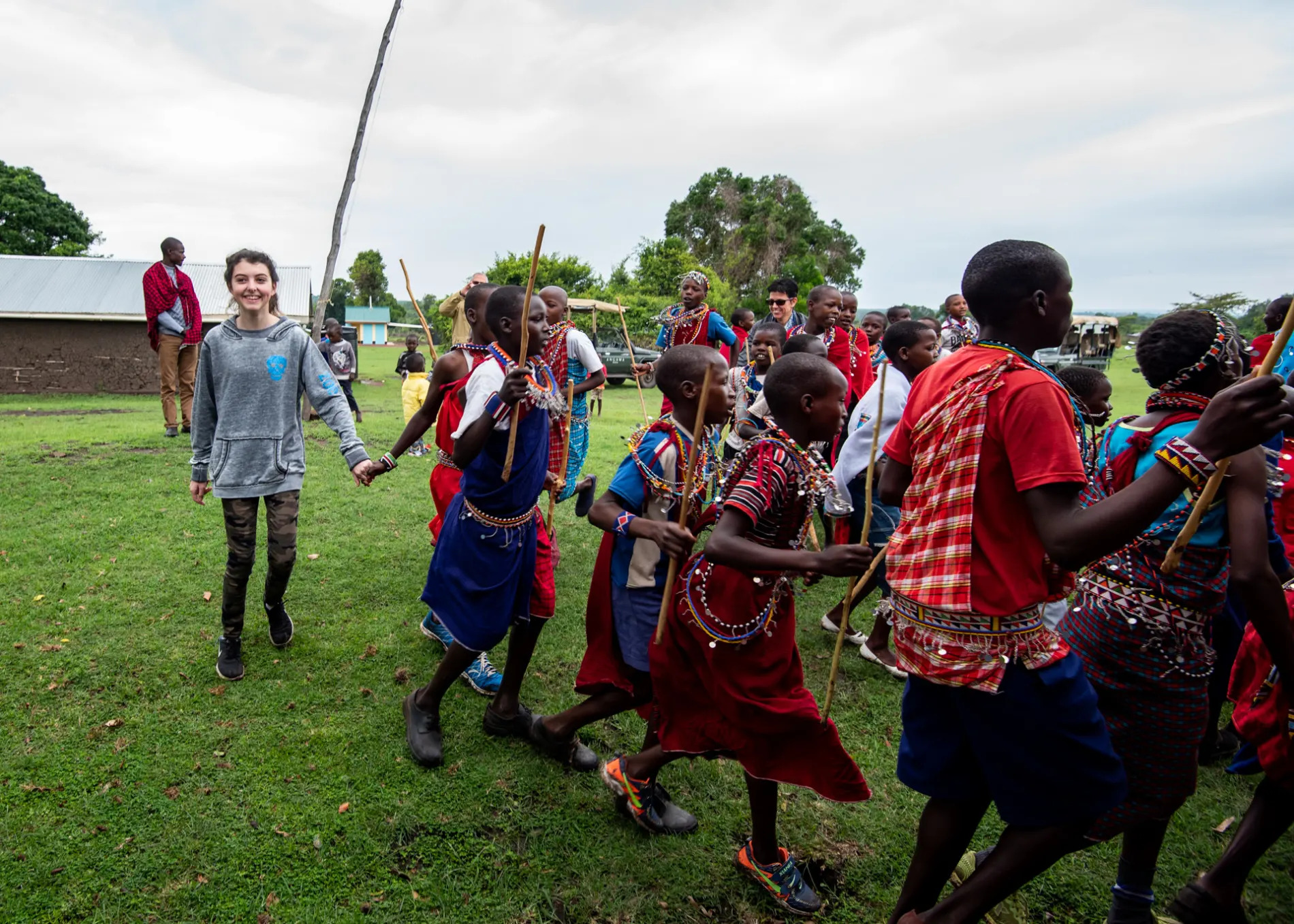 Dancing with the village children