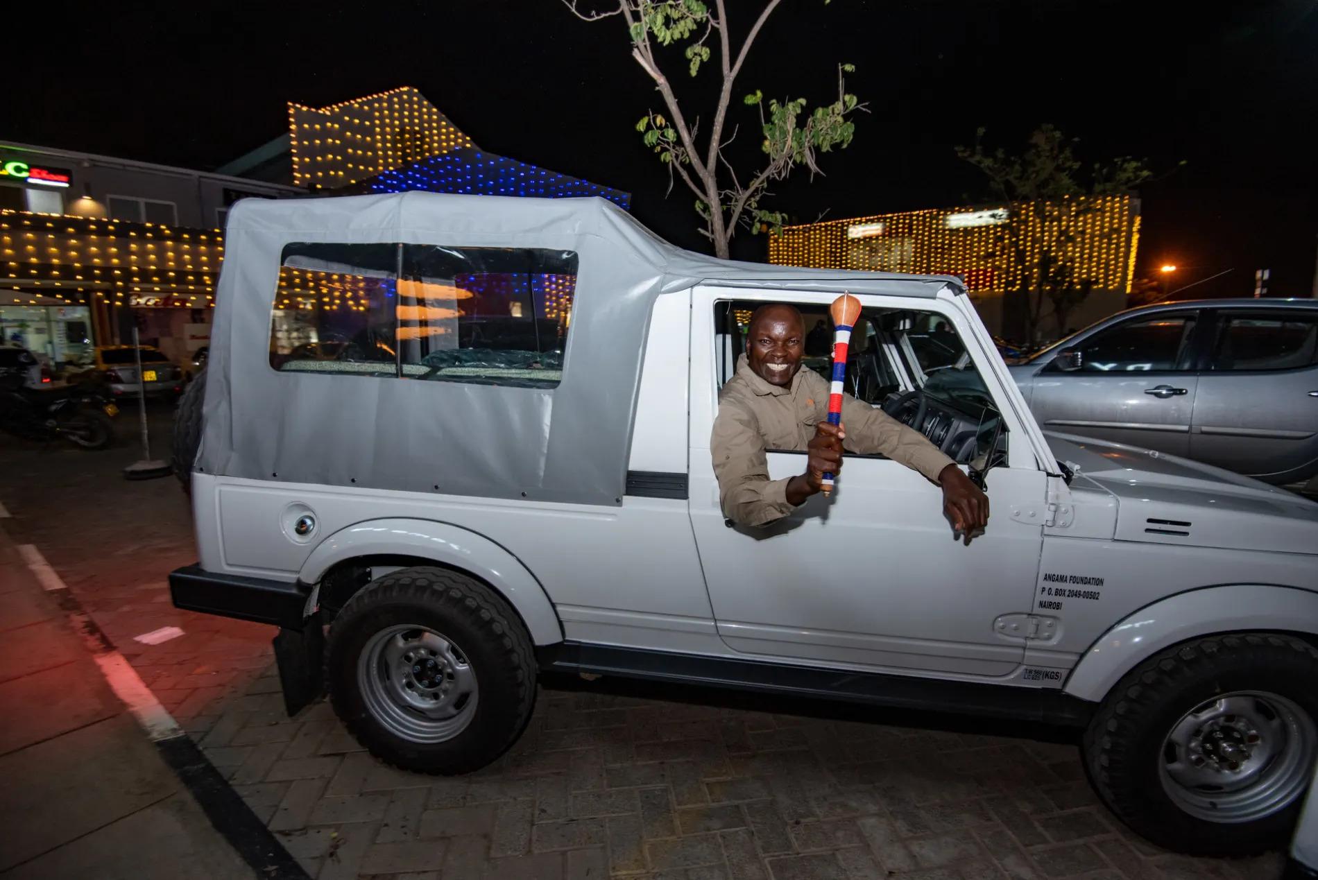 Sammy Ngotho with winning car