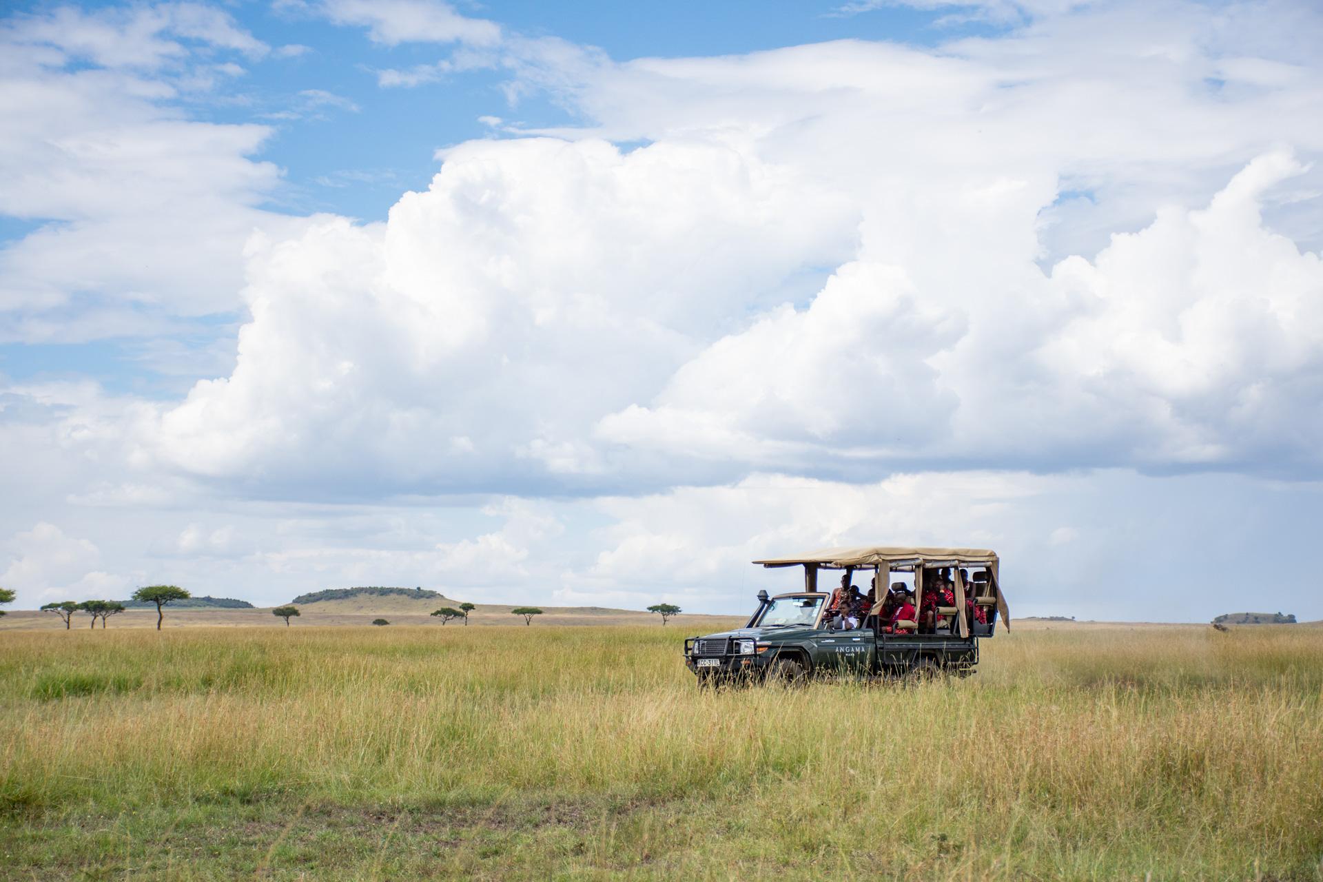 Angama Safari vehicle on the mara