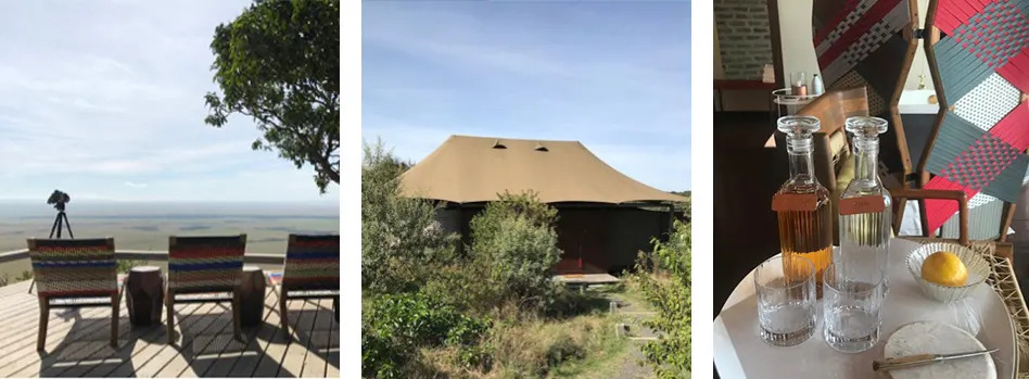 Lodge and tents collage