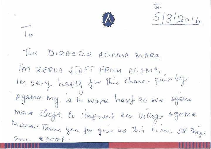 Thank you note from askari Kiken Ole Kerua
