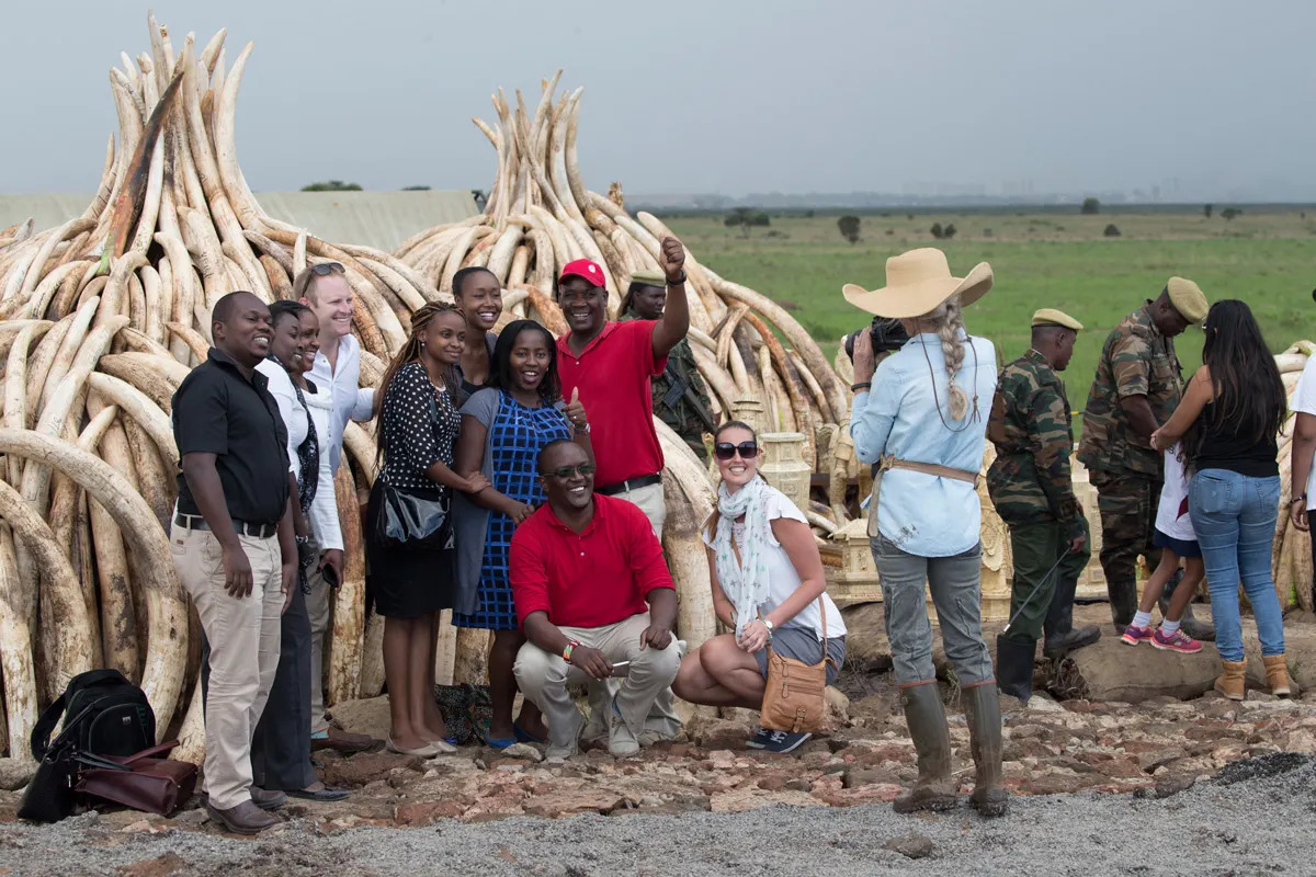 Angama team supporting the ivory burn