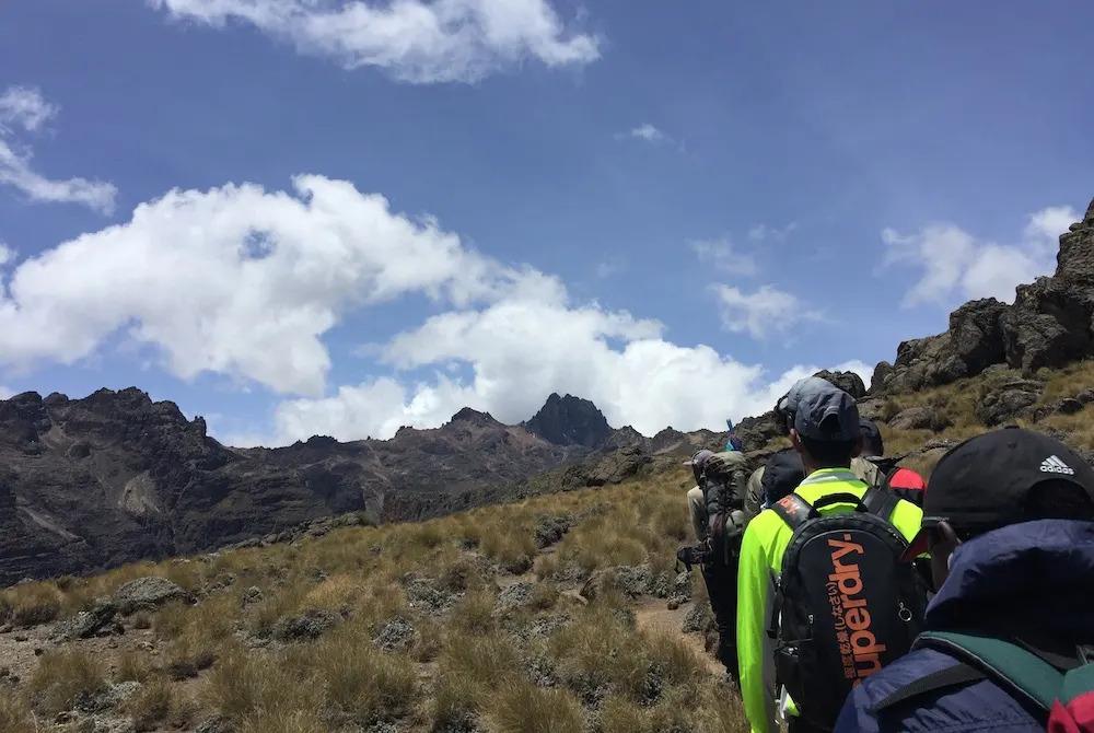 Walking towards Lenana Peak on Mount Kenya