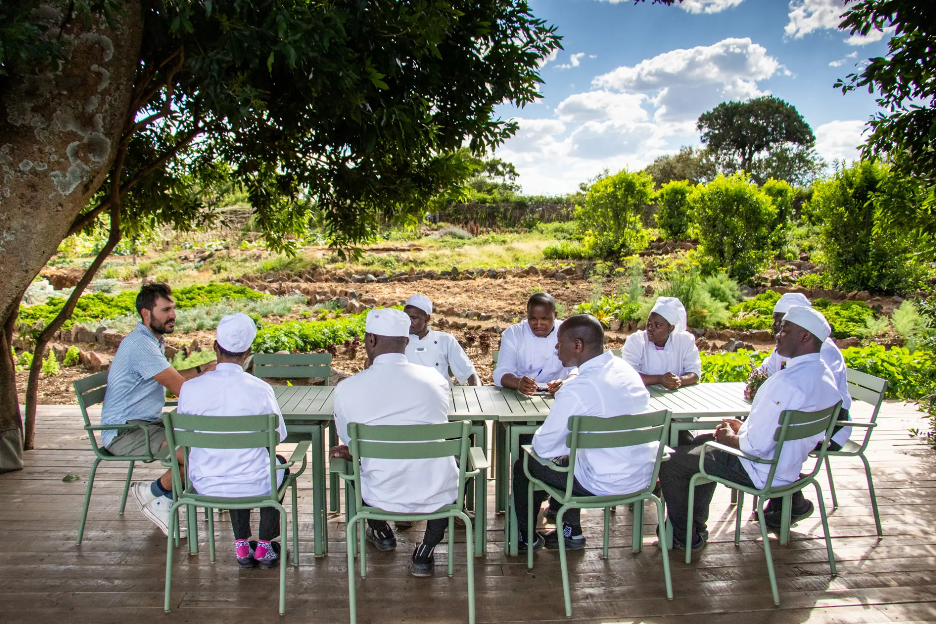 Ben with the chefs in the Shamba
