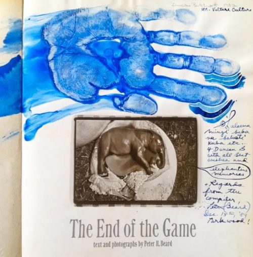 Peter Bear's blue signature on Duncan's copy of The End of the Game