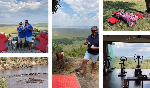 Champagne on the Out Of Africa Kopje, drinks in the baraza overlooking the Mara Triangle, and a little bit of gym time