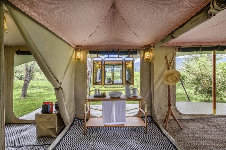 Angama Safari Camp vanity with views