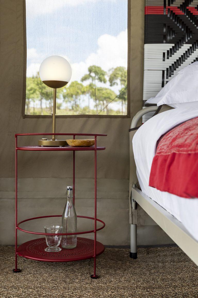 Fermob bedside tables and lights at Angama Safari Camp
