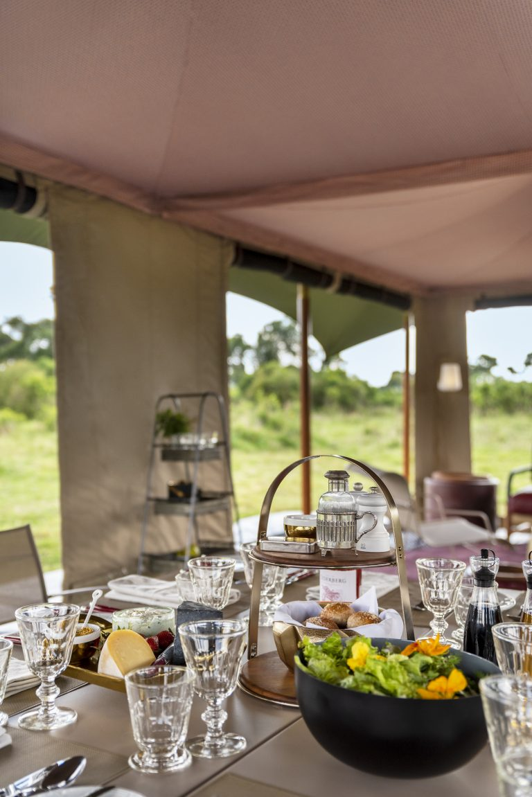 Dining and relaxing in the Lunch served at Angama Safari Camp Guest Area