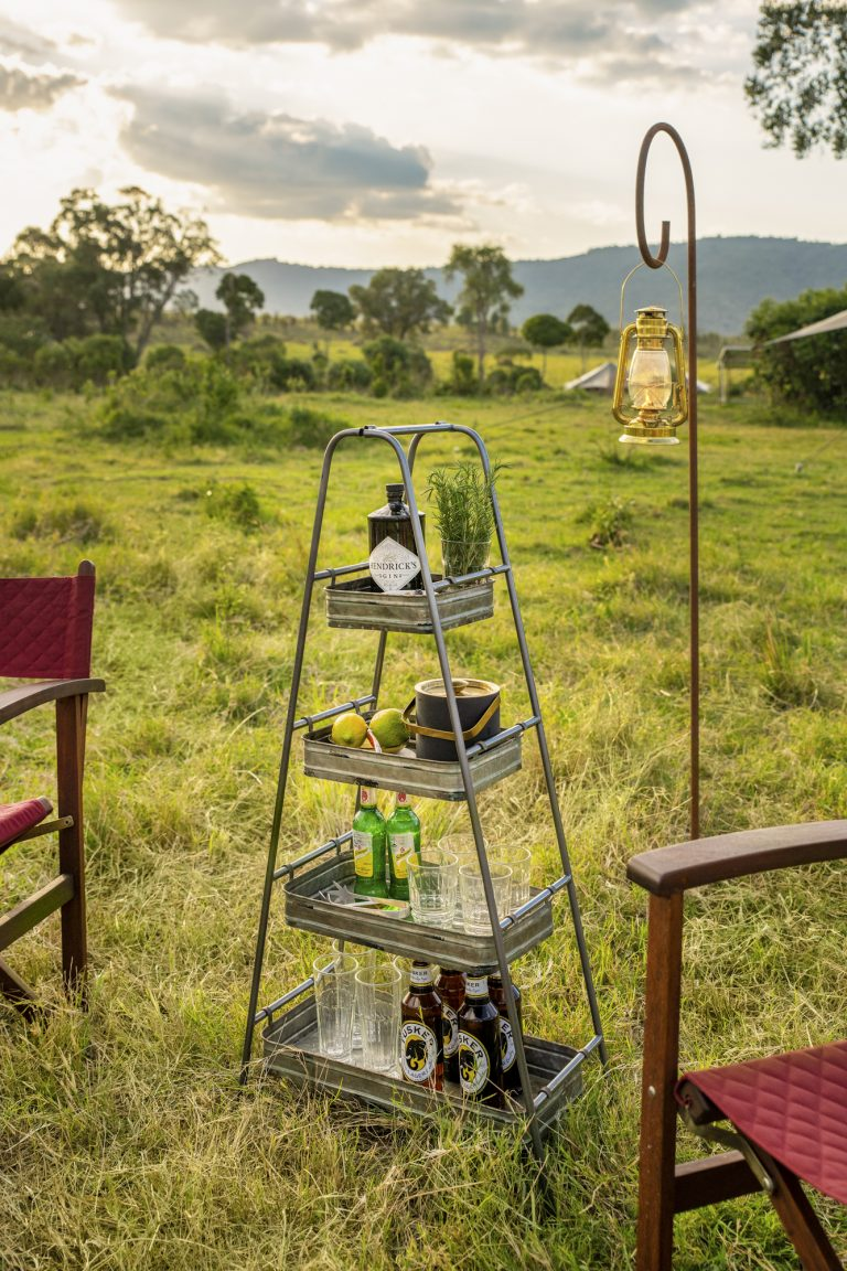Sunset drinks served at Angama Safari Camp