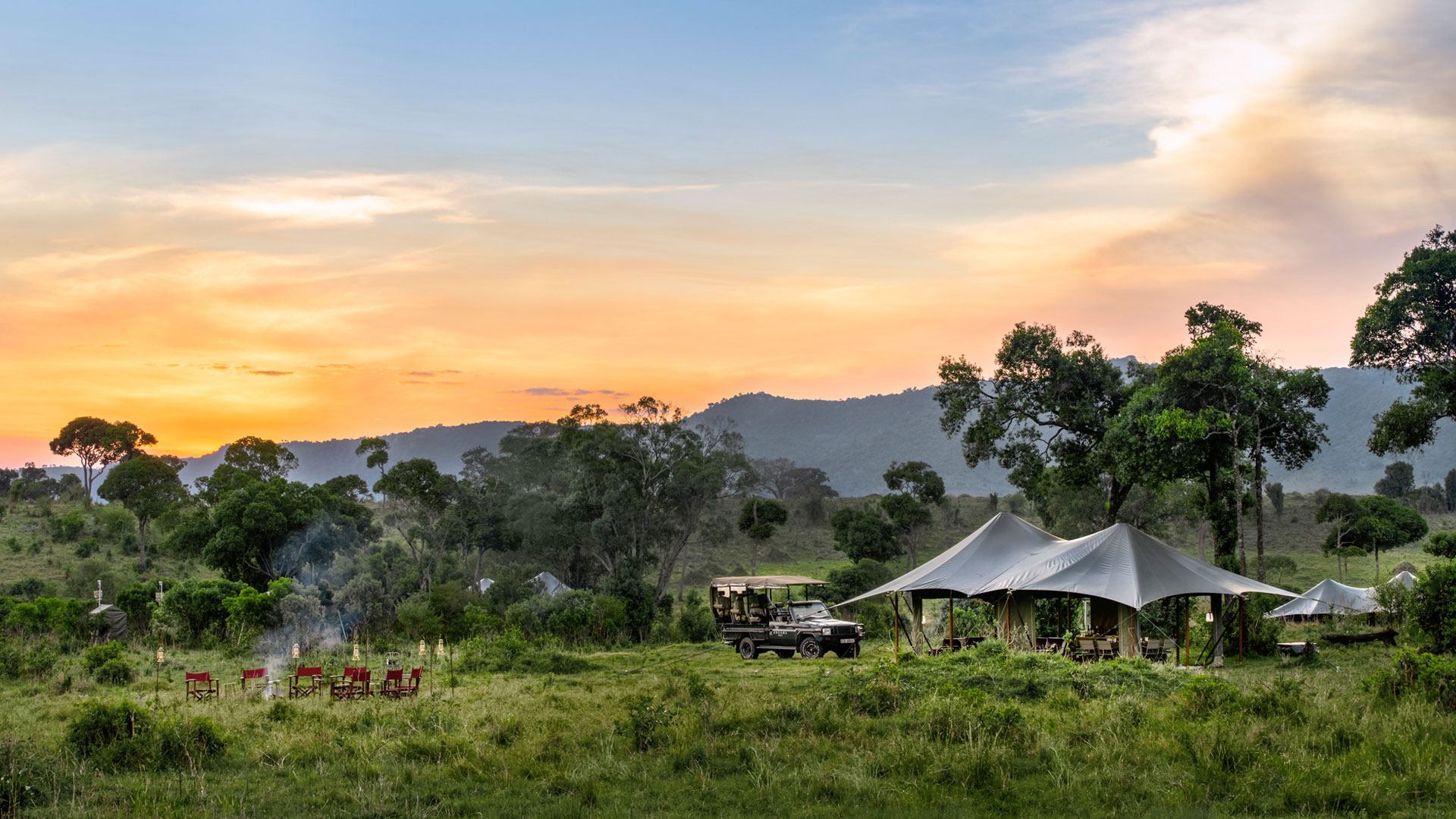 Angama Safari Camp at sunset