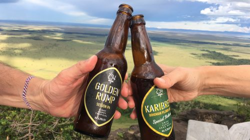 Ice cold beer with a view of the Mara Triangle from the Angama Mara deck