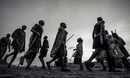 Maasai dancers perform at sunset