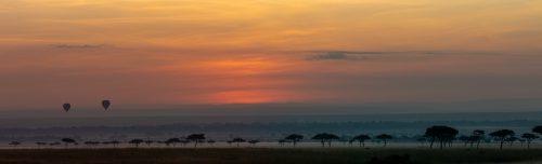 Balloons drifting along the Mara dawn
