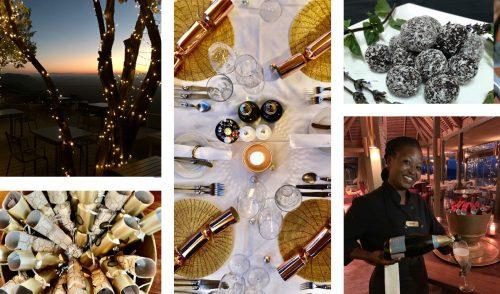 Elegant Christmas touches adorn the lodge