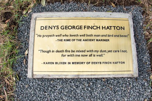 A plaque in honour of Denys Finch Hatton at Angama Mara