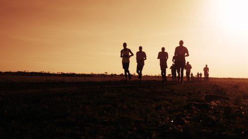Marathon competitors set off at first light for the 50km race through the Maasai Mara
