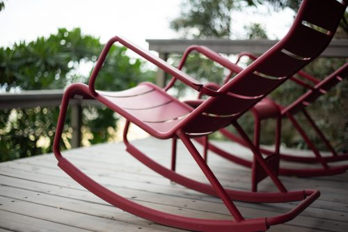 Angama Mara red rocking chairs