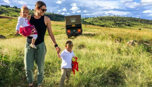Shannon and children on safari in the Mara